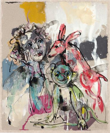 2014, Acryl und Schellack auf Papier, 34 x 28,5 cm