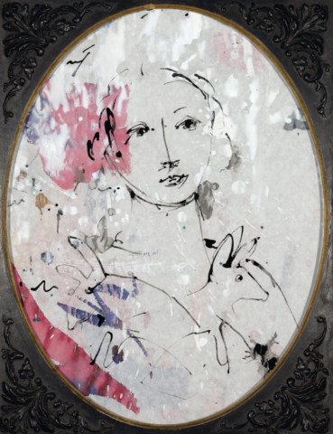 Abschied ist immer auch Anfang   2014, Acryl und Schellack auf Pergamin, 39 x 31 cm