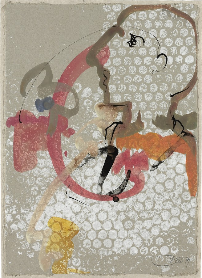 Mondscheinspaziergang   2012, Tusche und Acryl auf Karton, 30,5 x 22 cm
