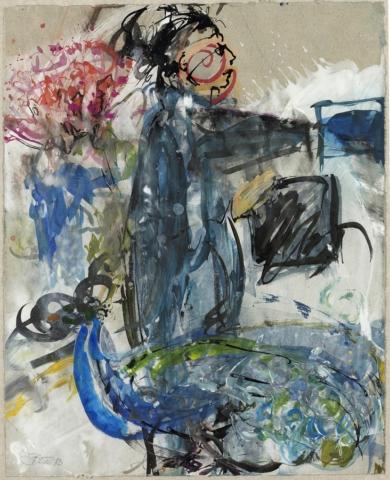 Hüterin der Räume / Yemayá | 2013, Schellack und Acryl auf Papier, 35 x 28 cm