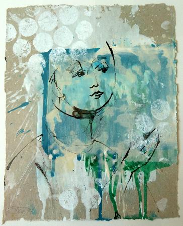 2014, Acryl und Schellack auf Papier, 26 x 21 cm