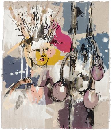 2014, Acryl und Schellack auf Papier, 34 x 29 cm