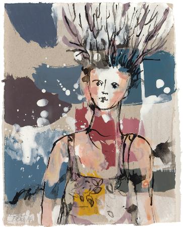 2014, Acryl und Schellack auf Papier, 26,5 x 21 cm