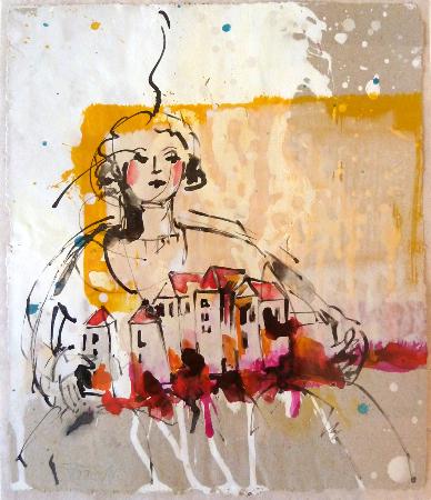 2014, Acryl und Schellack auf Papier, 24,5 x 21 cm