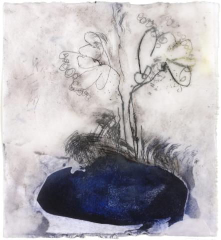 Unter dem Milchwald | 2015, Enkaustik - Pigment, Ölfarbe und Wachs auf Papier, 32 x 28 cm
