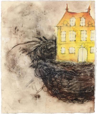 Das Singvögelhaus | 2015, Enkaustik - Pigment, Ölfarbe und Wachs auf Papier, 38 x 30 cm