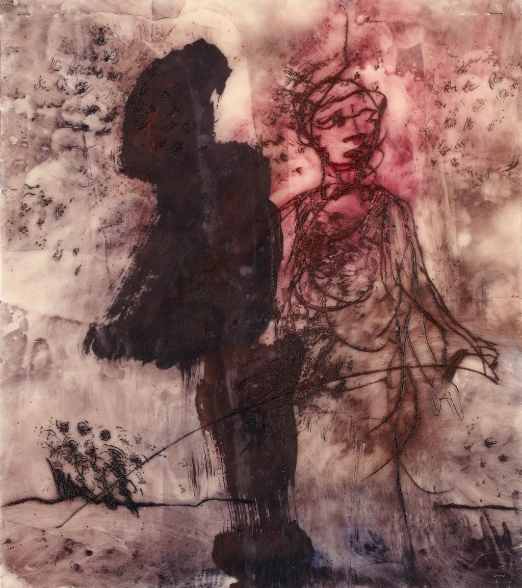 Auf neuen Wegen I | 2015, Enkaustik - Pigment, Ölfarbe und Wachs auf Papier, 28 x 24 cm