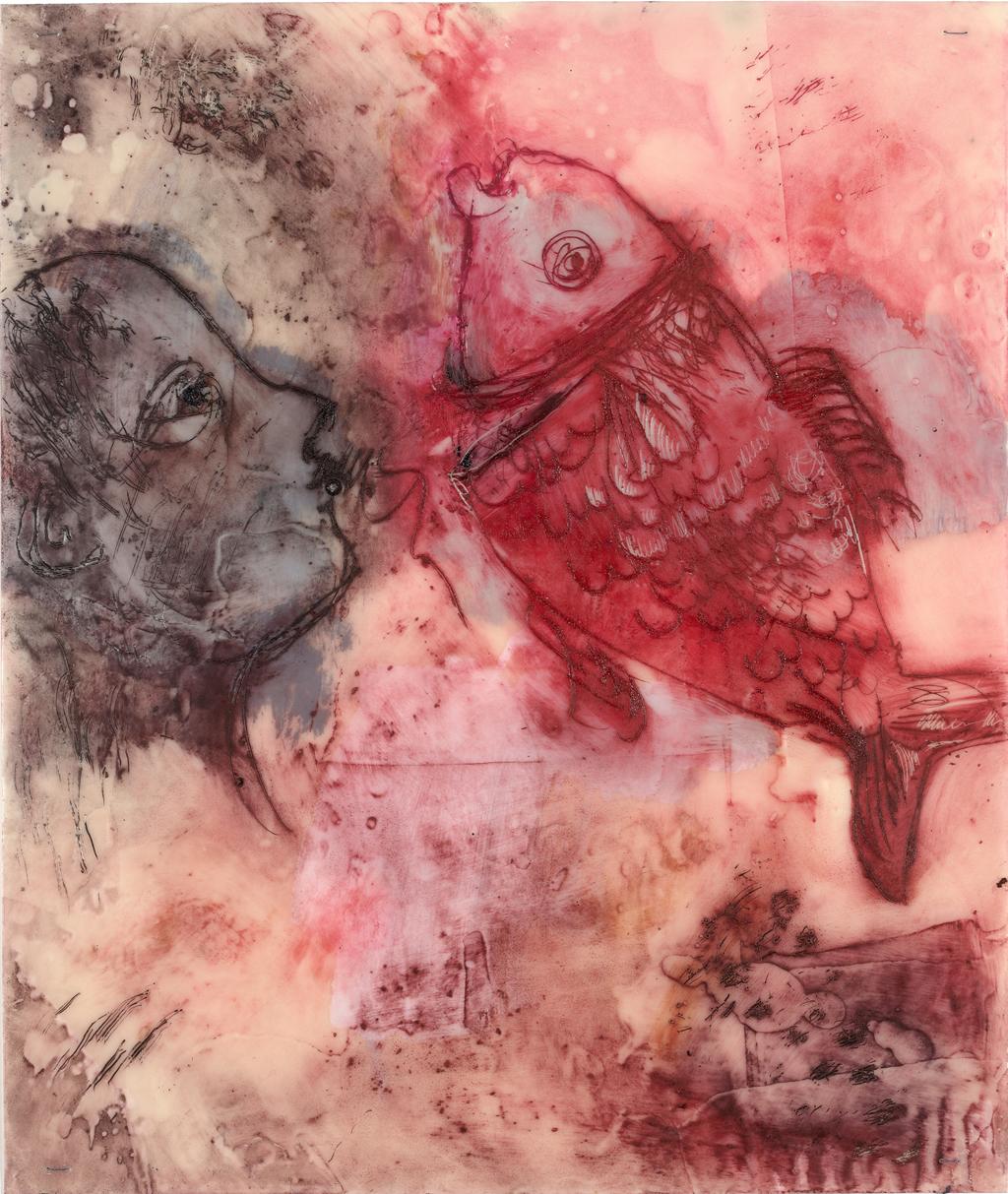 Auf neuen Wegen III | 2015, Enkaustik - Pigment, Ölfarbe und Wachs auf Papier, 28 x 24 cm