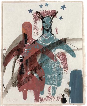 o. T. | 2014, Stempelformen, Acryl und Tusche auf Papier, 24 x 19 cm