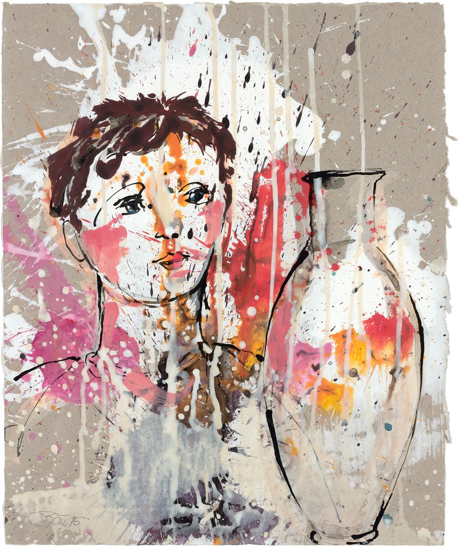 Besuch der offenen Form   2015, Acryl und Schellacktusche auf Papier, 38 x 31 cm