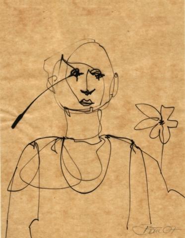 o.T. | 2007, Tusche / Rohrfeder auf Pergamin, 16,5 x 13 cm