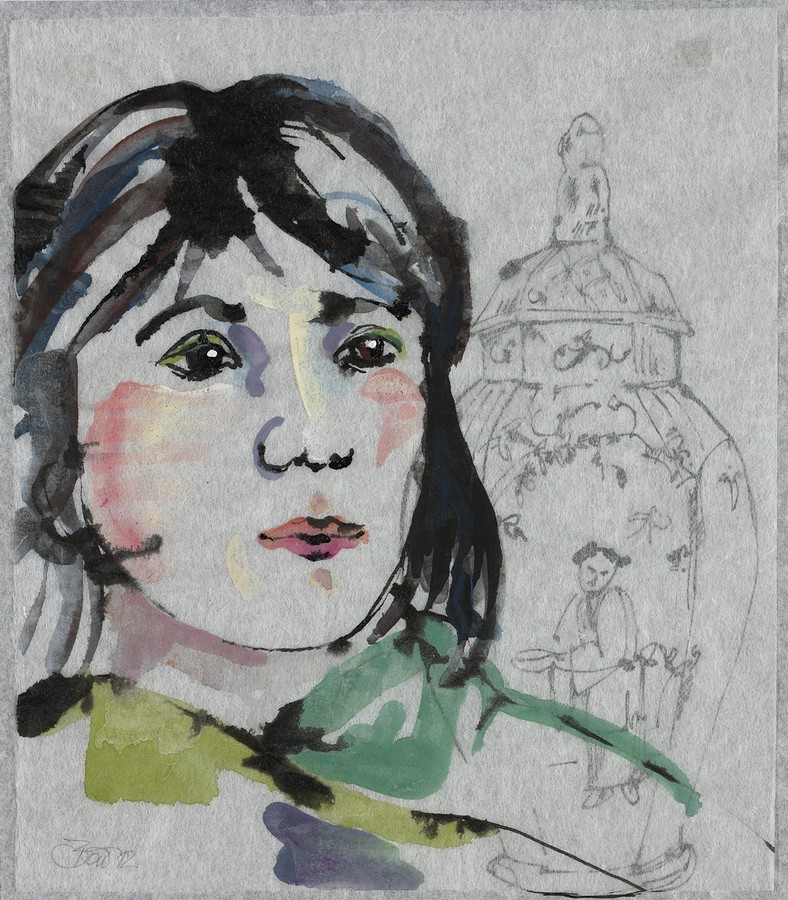 In Bulgarien gibt es keine Schlösser / Ilona | 2012, Acryl und Schellack-Tusche auf Japan-Papier und Pergamin, 26 x 23 cm