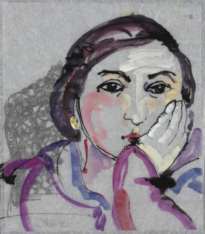 In Bulgarien gibt es keine Schlösser / Elena | 2012, Acryl und Schellack-Tusche auf Japan-Papier und Pergamin, 26 x 23 cm