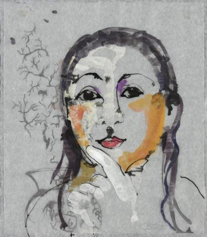 In Bulgarien gibt es keine Schlösser / Anastasiya | 2012, Acryl und Schellack-Tusche auf Japan-Papier und Pergamin, 26 x 23 cm