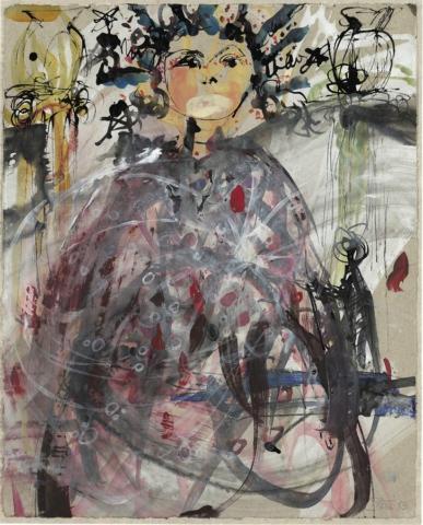 Hüterin der Räume / Chango | 2013, Schellack und Acryl auf Papier, 35 x 28 cm
