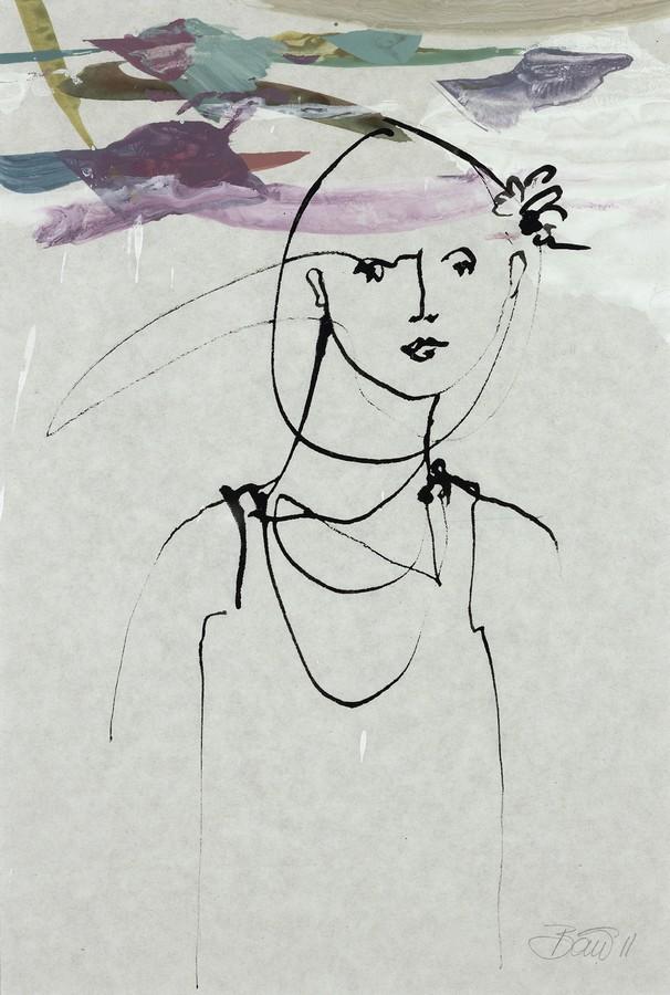 Im Meer von Herzklopfen   2011, Acryl und Tusche auf Pergamin, 32 x 26,5 cm
