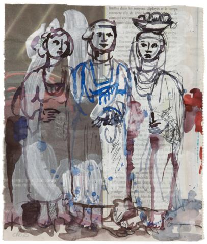 Les secrets de la résidence – Saint Louis, Senegal 2015, Acryl, Fineliner und Aquarell auf Zeitungspapier, 28 x 21 cm