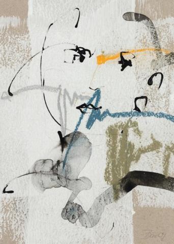 Habt ihr ein Taschentuch? | 2009, Acryl, Pastellkreide und Tusche auf Papier, 25 x 18,5 cm