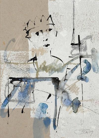 Verlorenes Land | 2009, Gouache, Pastell und Tusche auf Papier, 25 x 18,5 cm
