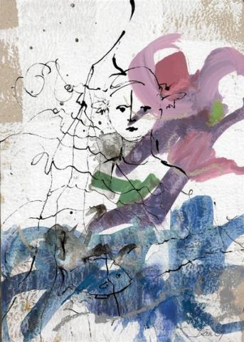 Möglicherweise ist Glück eine Frage der Haltung 2009, Acryl und Tusche auf Papier, 25 x 18,5 cm