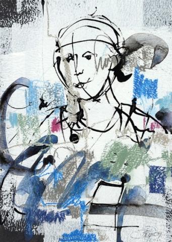 Während ein Atem ums Haus geht | 2009, Gouache, Pastell und Tusche auf Karton, 25 x 18,5 cm