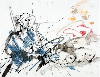 Enjoy! | 2009, Pastell und Tusche auf Pergamin, 32,5 x 41 cm