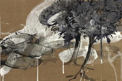 Nächtliche Reise | 2009, Tusche, Pastell und Gouache auf Karton, 42 x 58 cm