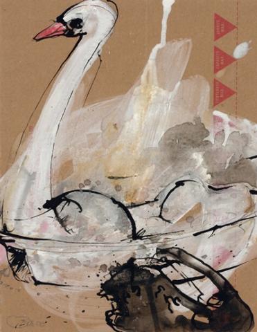 Heimat – Alles Liebe, schwarzer Schwan   2008, Tusche, Gouache und Pastell auf Karton, 28 x 21,5 cm