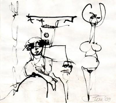 Aus den Gärten der Marchesa Casati – gewidmet Peggy Guggenheim | 2008, Tusche auf Pergamin, 9,5 x 11 cm