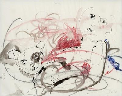 Aus den Gärten der Marchesa Casati – gewidmet Peggy Guggenheim | 2008, Tusche und Pastell auf Pergamin, 37 x 47 cm