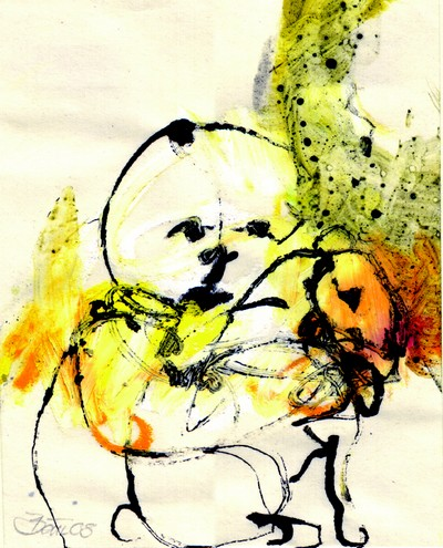 Im Gespräch mit dem Hasen | 2008, Ölpastell und Tusche auf Pergamin, 13,4 x 10,7 cm