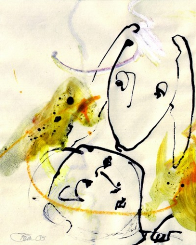 Im Gespräch mit dem Hasen | 2008, Ölpastell und Tusche auf Pergamin, 17,8 x 14,3 cm