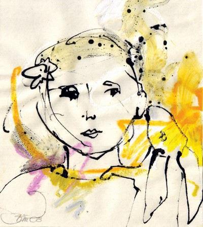 Im Gespräch mit dem Hasen | 2008, Ölpastell und Tusche auf Pergamin, 16 x 14,3 cm