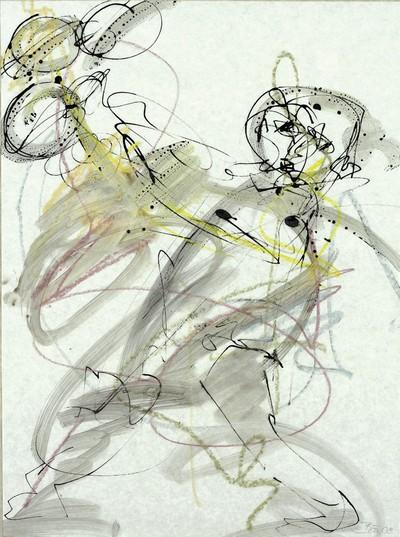Traumfänger | 2008, Tusche und Ölpastell auf Pergamin, 48 x 37 cm