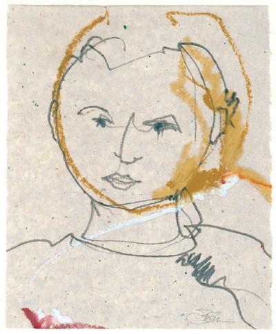 o. T. | 2006, Ölpastell und Bleistift auf Seidenpapier, 17 x 13,5 cm