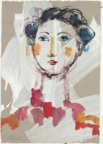 Die Perlenfinderin | 2013, Acryl und Schellack auf Papier 25,5 x 18 cm
