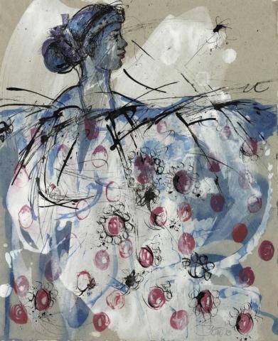 Tanz der Orisha | 2013, Schellack und Acryl auf Papier, 35 x 28 cm