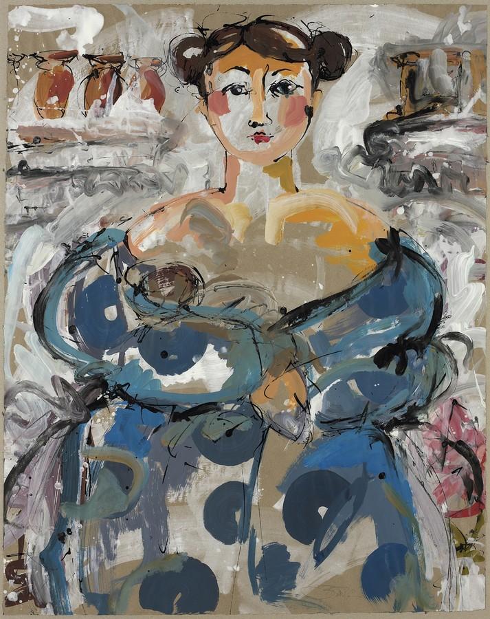 Der Traum der Yemayá | 2012, Schellack und Acryl auf Papier, 89 x 69 cm