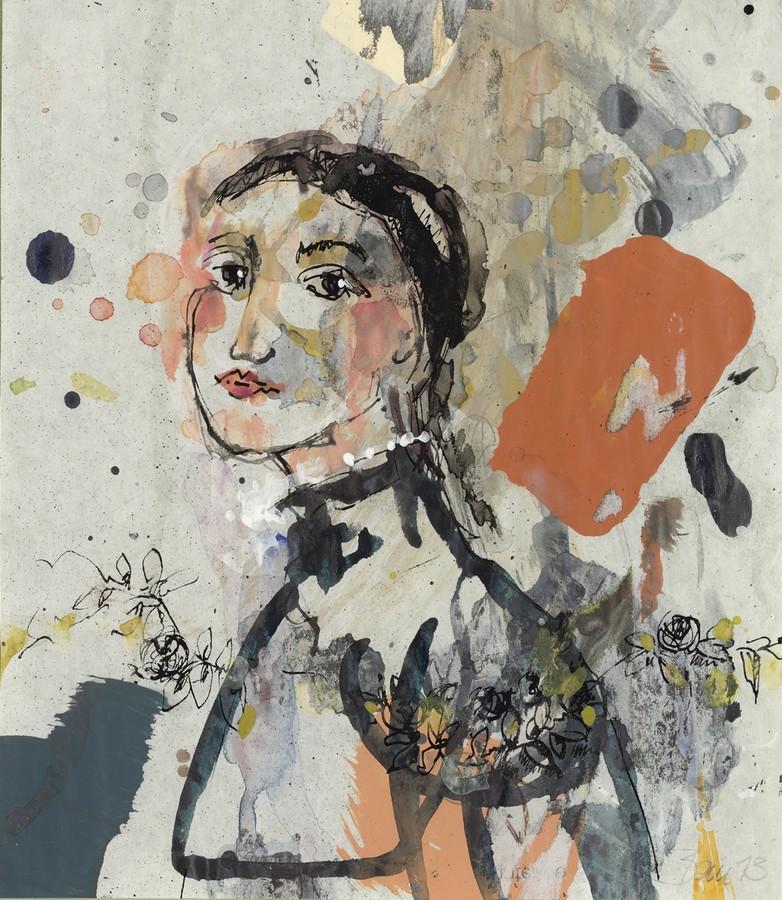 Sehnsucht gen Süden | 2013, Acryl und Schellack auf Pergamin, 19,5 x 17 cm