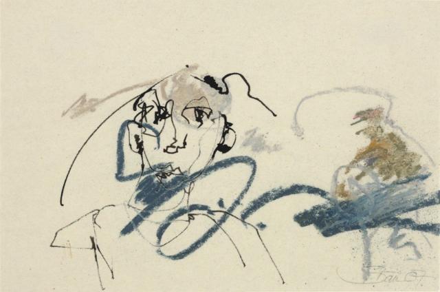 Der Dirigent | 2007, Tusche und Ölpastell auf Pergamin, 13 x 19,5 cm