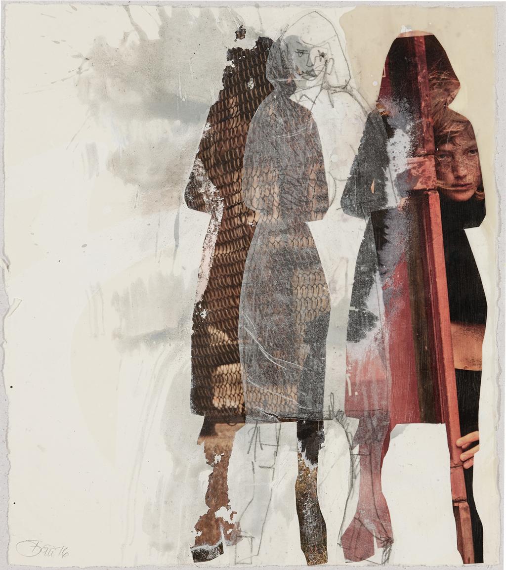 Bei sich sein oder die ständige Suche danach II I 2016, Acryl, Transfer und Collage auf Papier, 32 x 29 cm