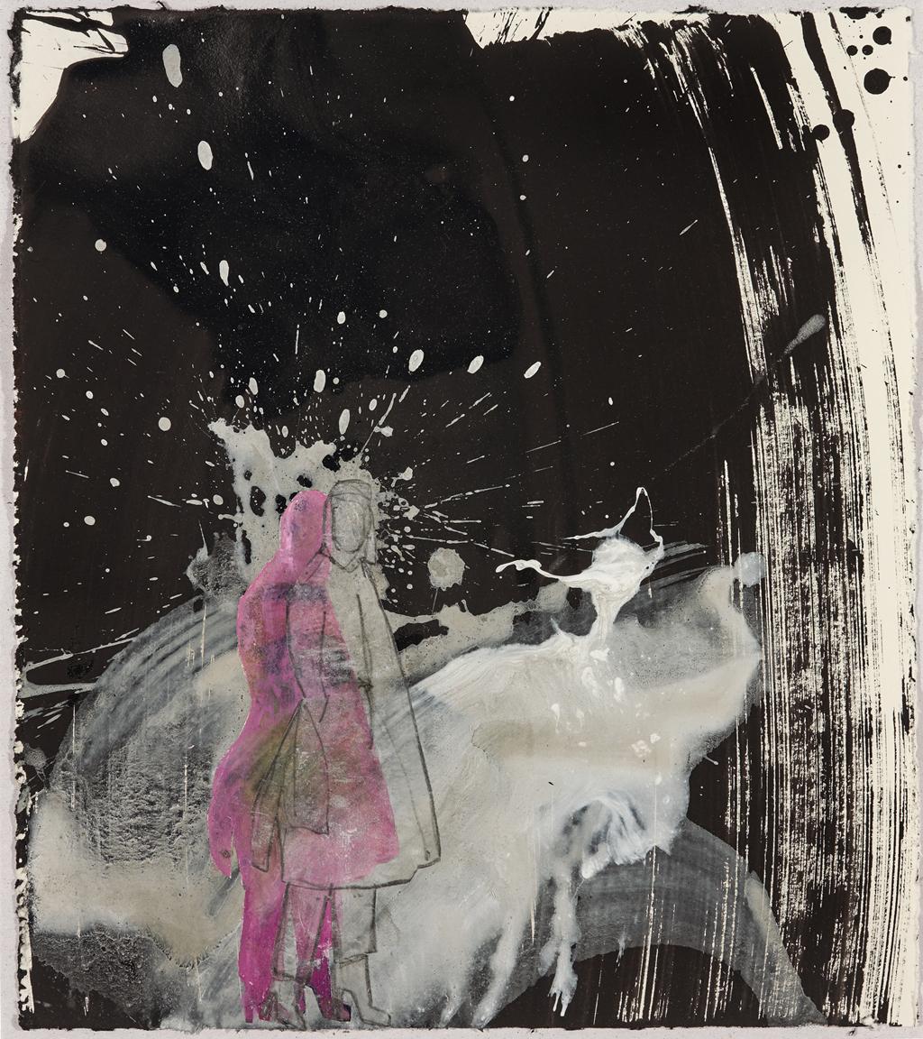 Wolkenschnur rosa I 2016, Acryl, Gesso und Collage auf Papier, 32 x 28,5 cm
