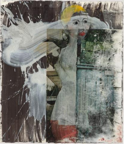 Mondlegende I 2016, Acryl, Transfer, Bleistift und Öl auf Papier, 37 x 30,5 cm