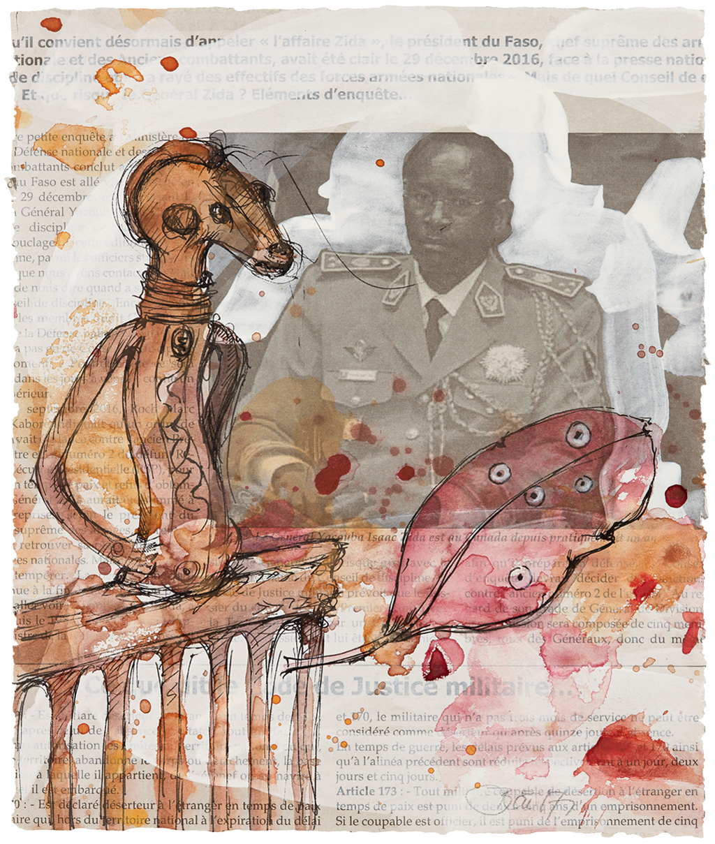 Les secrets de la residence – Burkina Faso I 2017, Acryl, Fineliner und Aquarell auf Zeitungspapier, 28 x 21 cm