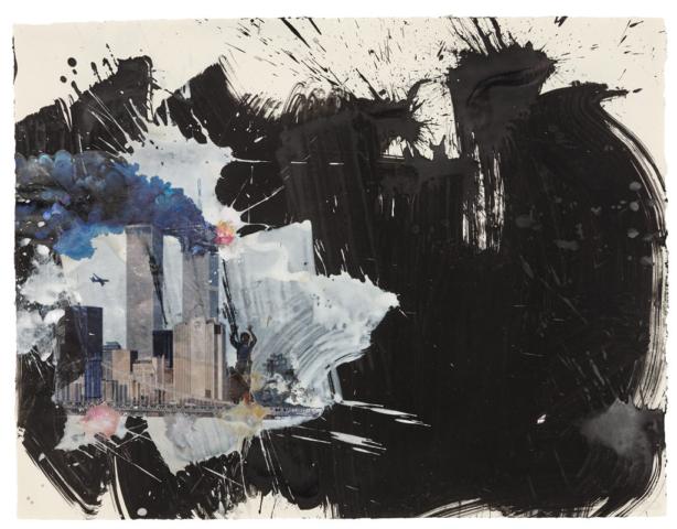 Der Gesang der Dunkelheit / New York Acryl, Transferdruck und Enkaustik auf Papier, 68 x 88 cm
