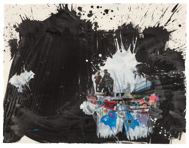 Der Gesang der Dunkelheit / München Acryl, Transferdruck und Enkaustik auf Papier, 68 x 88 cm