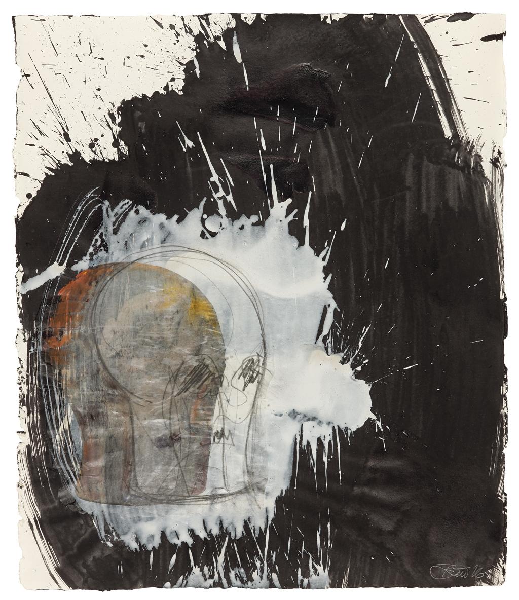 Der Gesang der Dunkelheit / Kopf II Acryl, Transferdruck und Enkaustik auf Papier, 58 x 48 cm