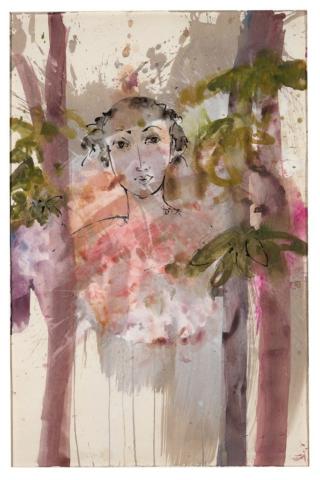 Im Bobo-Wald I | 2017, Gesso, Acryl und Schellack-Tusche auf Papier, 45 x 35 cm