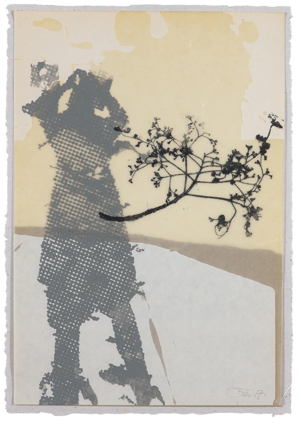 Es wird im Gehen gelöst II| 2017, Siebdruck und Collage, 29,7 x 21 cm