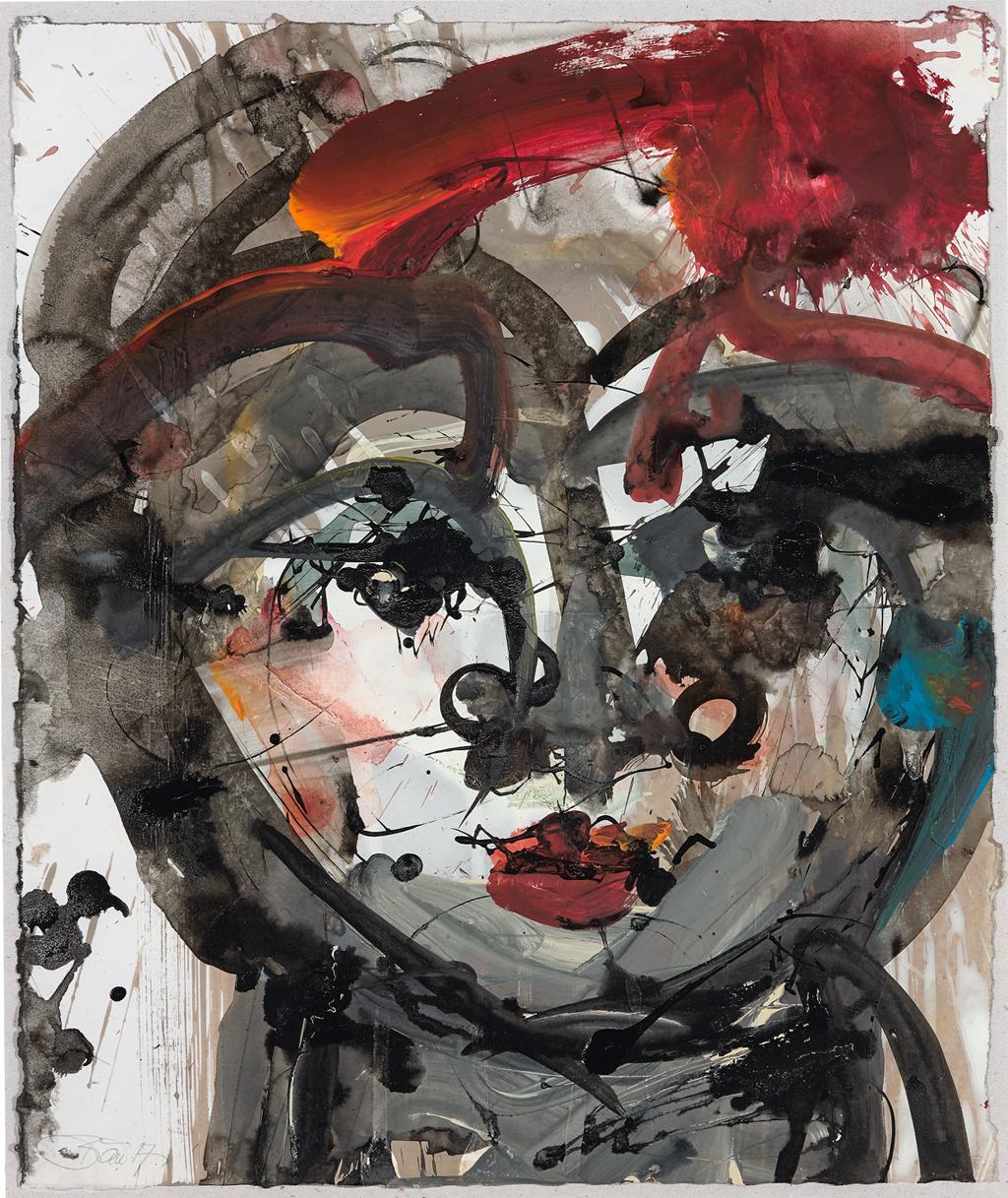 Ein Atemzug, ein Augenspiel 2017, Acryl und Schellack-Tusche auf Papier, 34 x 29 cm